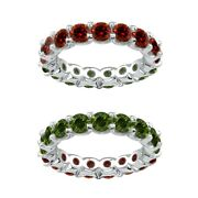 7 Carat Green And Red Real Diamond Reversible Eternity Ring Band 14k White Gold