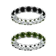 7 Carat Green And Black Real Diamond Reversible Eternity Ring Band 14k White Gold