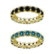 7 Carat Blue And Black Real Diamond Reversible Eternity Ring Band 14k Yellow Gold