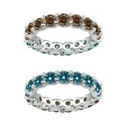 7 Carat Blue And Champagne Real Diamond Eternity Ring Band 14k White Gold
