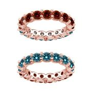 6 Carat Blue And Red Real Diamond Reversible Eternity Ring Band 14k Rose Gold