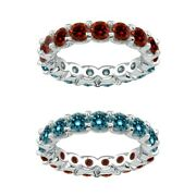 7 Carat Blue And Red Real Diamond Reversible Eternity Ring Band 14k White Gold