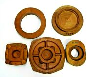 Lot Of 5 Round Mahogany Wood Foundry Casting Patterns Mold Industrial Sculpture