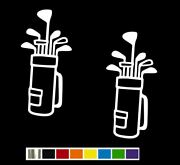 2 Golf Bag And Clubs Vinyl Decal Set - Custom Size Color For Carstruck