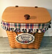 Longaberger Medium Mail Basket Protector Wood Lid Liner And Tie On Combo