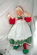 Vintage 1994 30 Annalee Mrs Santa Claus Green Apron Old World Doll No Stand