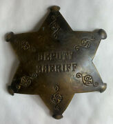 Deputy Sheriff Badge Star Reproduction Embossed Pin Old West 3 Brass Badge New