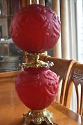 Antique Vintage Gwtw Red Cranberry Iris Hurricane Gone With The Wind Lamp Large