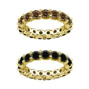 7 Carat Black And Champagne Real Diamond Eternity Ring Band 14k Yellow Gold