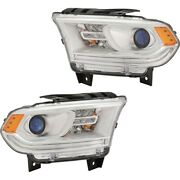 Set Of 2 Headlights Lamps Left-and-right 68299136ad, 68299137ad Lh And Rh Pair