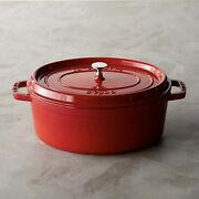 Nib Staub Cast Iron 8.5qt Oval Dutch Oven French Cocotte With Lid - Cherry Red
