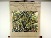 Scroll Painting Forest Signed Jorge Zeno Puerto Rican Surrealist Expresionist