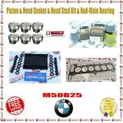 Wiseco Piston + Head Gasket And Head Stud And Rod / Main Bearings Kit For Bmw M50b25