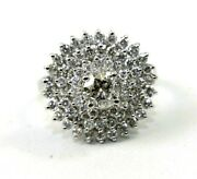 Natural Round Diamond Solitaire Halo Cocktail Ladyand039s Ring 14k White Gold 1.98ct