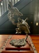 Mark Hopkins Retired Limited Edition Bronze Sculpture Cry Of The Wolves