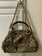 Marc Jacobs Little Stam Chain Moss Green Reptile Quilted Leather Shoulder Bag