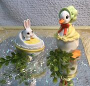Leftonvintageeaster Bunny Rabbit Baby And Mother Goose Duckjapan