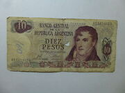 Old Argentina Paper Money Currency 295 1973-76 10 Pesos Decreto - Well Circ Ink