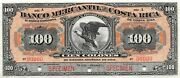 Costa Rica 100 Colones Nd. 1910 S 205s Series A Rare Uncirculated Banknote