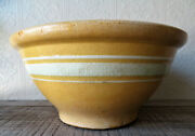 Early Vintage French Country Farmhouse Stoneware White Band Mixing Bowl Large