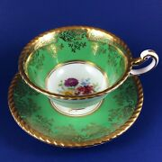 Paragon Purple Aster Bouquet Fine Bone China Green Tea Cup And Saucer