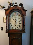 Antique 1700and039s English Tall Case Grandfather Clock W Painted Face 84 Tall
