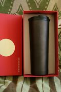 Starbucks Soft Touch Matte Black Stainless Steel Travel Tumbler New W/tag/box