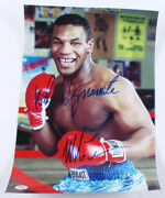 Rare Mike Tyson Signed 12x18 Photo Inscribed Kid Dynamite Psa Coa Imperfect