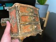 Vintage Rare Florentine Wood Tole Gold Jewelry Chest And Lidded Trinket Box