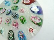 Antique Clichy 2.5andrdquo Glass 3 Rose Cane Millefiori Lace Background Paperweight