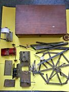 Very Early Meccano 1920s Erector Set In Wooden Box With Many Manuals And Magazines