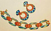 Rare Hard To Find Crown Trifari Signed Enamel Bracelet And Earrings Stunning
