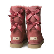 Ugg Bailey Bow Ii Timeless Red Suede Sheepskin Short Womenand039s Boots Size Us 7 New