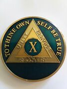 10 Year Aa Sobriety Chip Challenge Coin 1 3/4 Inch Blue Enamel X Recovery