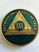 30 Year Aa Sobriety Chip Challenge Coin 1 3/4 Inch Blue Enamel Xxx Recovery