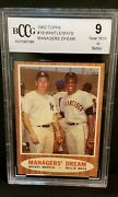 1962 Topps18 Mickey Mantle/willie Mays Bccg 9 Nm Managers Dream⚾️