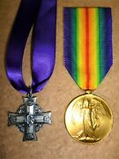 Memorial Cross And Ww1 Victory Medal To George Gowen 19th Battalion Cef Kia