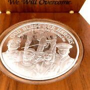 911 Commemorative God Bless Our Heroes .999 Pure Silver Coin Wood Case 279/500