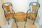 Vintage 3 Pc. Metal And Rattan Doll Ice Cream Parlor Set Table And 2 Chairs.