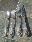 Wallace 4 Pc Grande Baroque Place Setting Grand Sterling Silver Clean