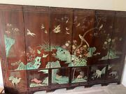 Antique 6 Panel Chinese Folding Screen - Carved And Painted - Animals Warriors