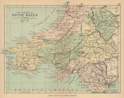 South Wales. Antique Map. Counties Railways Roads Canals. Philip 1885 Old