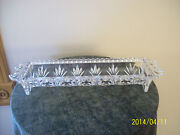 Crystal Rounded Cut Glass Double Handle Footed Vintage Celery Serving Dish
