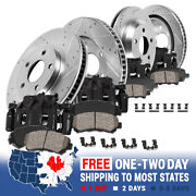 Front+rear Black Brake Calipers And Rotors Ceramic Pads For 2001 - 2003 Acura Cl