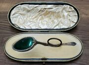 Rare David Andersen Green Enamel Sugar Spoon And Fitted Box Import By Elkington