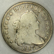 1802/1 Bust Dollar Bold Overdate Solid Vf In Protective Plastic Holder