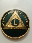 50 Year Aa Sobriety Chip Challenge Coin 1 3/4 Inch Blue Enamel L Recovery