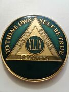 49 Year Aa Sobriety Chip Challenge Coin 1 3/4 Inch Blue Enamel Xlix Recovery