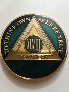48 Year Aa Sobriety Chip Challenge Coin 1 3/4 Inch Blue Enamel Xlviii Recovery