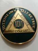 46 Year Aa Sobriety Chip Challenge Coin 1 3/4 Inch Blue Enamel Xlvi Recovery